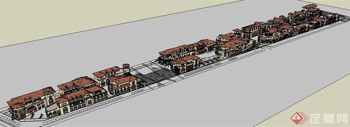 欧式商业街建筑设计su模型