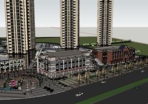某城市欧式风格购物广场景观设计su(草图大师)模型图片