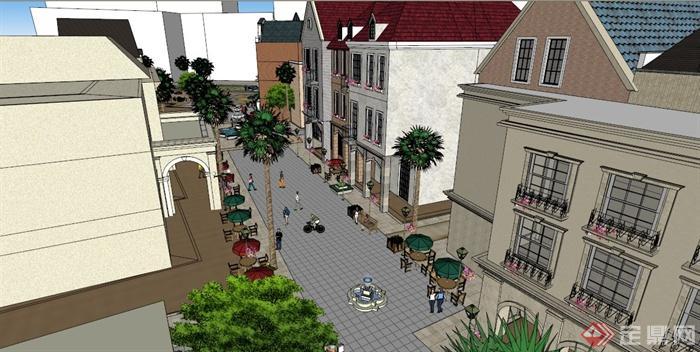 某城市欧式风格商业街景观设计su模型