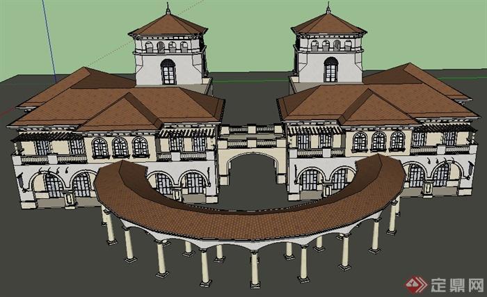 某地欧式风格商业建筑设计su模型