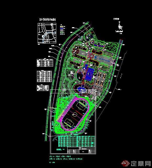 现代某中学校园植物配置设计cad平面图