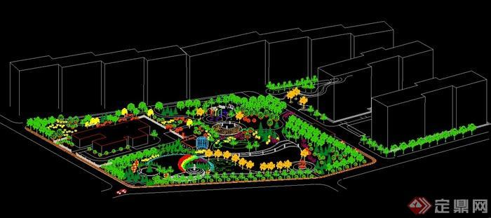某广场绿地景观设计cad轴测图