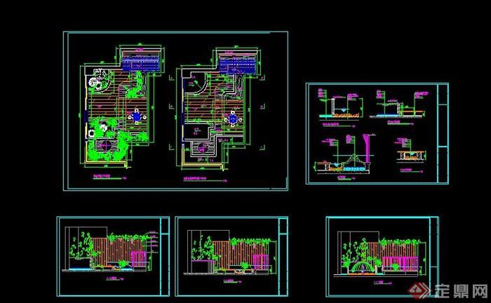现代某花园住宅格式v花园施工图CAD图标cad阳台十字是捕捉图片