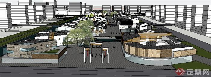 新中式风格两层旅游商业街建筑设计su模型(1)图片