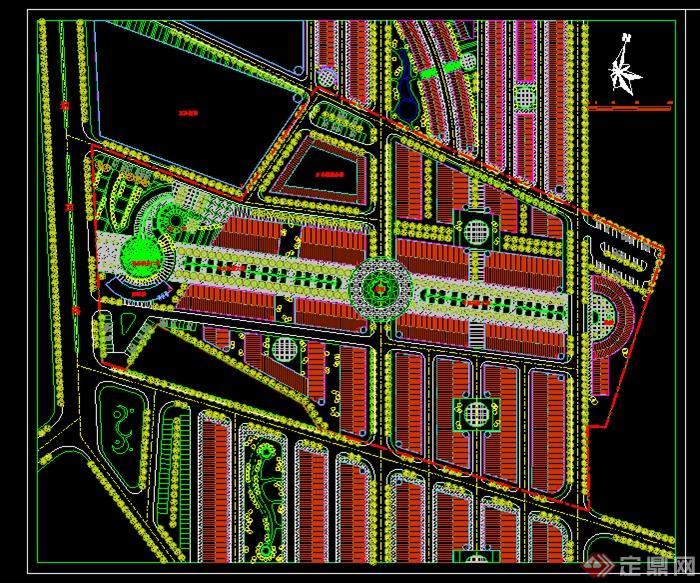 音乐喷泉广场景观cad平面图