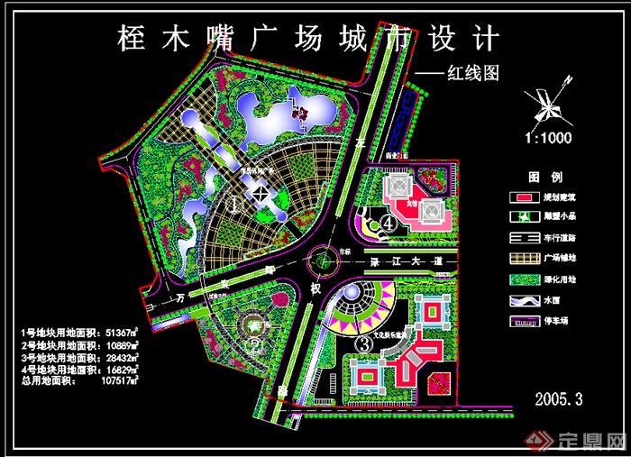 市民休闲广场景观cad平面图,该设计精美细致,细节处理较好,标注明确