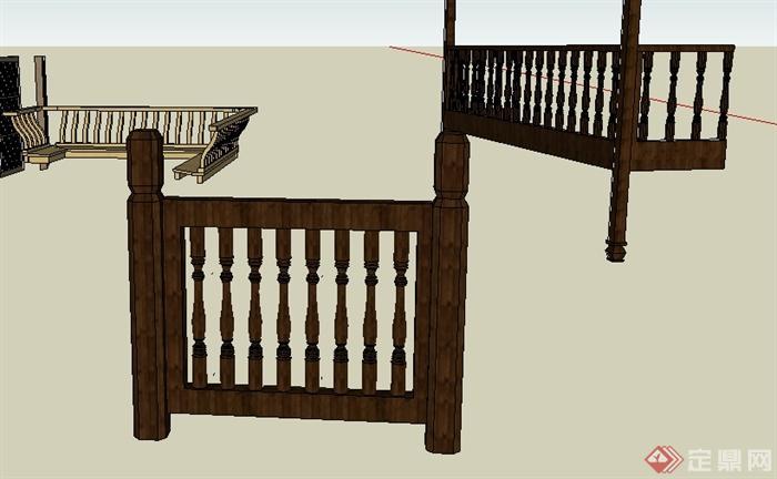 多个护栏,栏杆,建筑墙体su模型图片