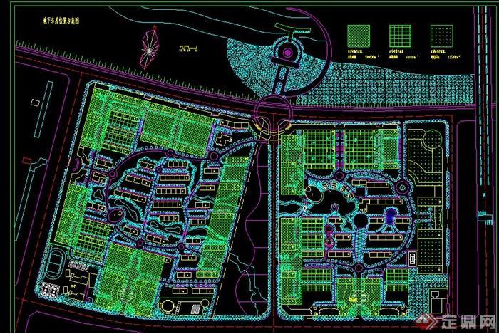 态小区景观规划CAD总平面图片