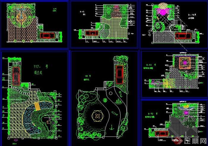 七款欧式不同别墅别墅客厅景观设计CAD国家庭院楼梯v别墅方案图片