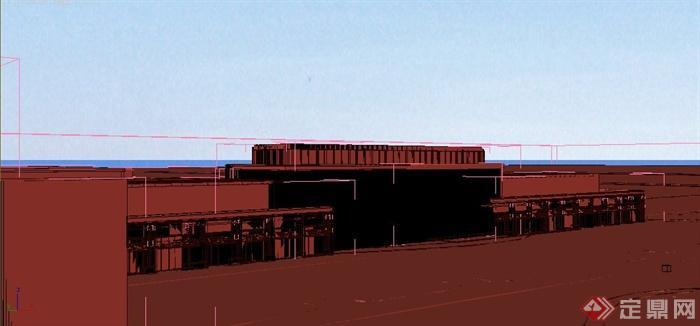 现代某工厂厂房建筑设计3dmax模型
