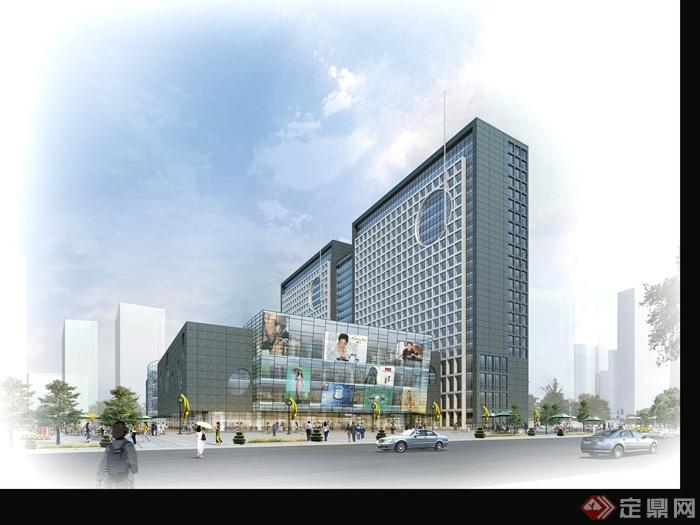 某商业综合楼建筑设计psd效果图,典型的现代大型商场和购物中心设计