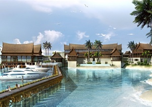 某东南亚风格旅游度假酒店建筑景观PSD效果图
