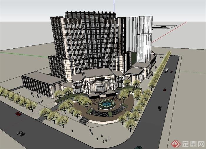 一棟高層酒店建筑設計SU模型,建筑門廳較為大氣,整體造型獨特,現代風格,具有一定的參考價值,有需要的朋友可以下載使用。