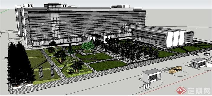 某物流园区办公楼建筑设计su模型(1)