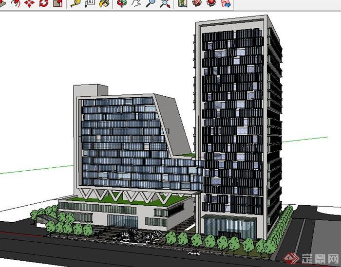 该压缩包里面包含某高层酒店办公建筑设计SU模型格式的文件,这是个酒店办公建筑的模型设计,包含商业街道景观设计,风格比较现代中式,模型设计的比较认真,颜色搭配的也比较简洁,可以供广大建筑设计爱好者使用,也可用作同类项目参考使用。