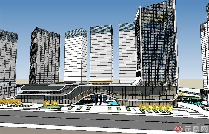某超现代商业建筑大楼su模型素材