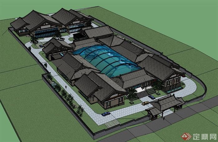 北京某中式办公区建筑设计su模型(1)图片