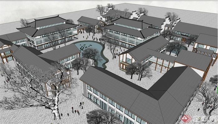 某现代中式酒店建筑景观设计su模型图片