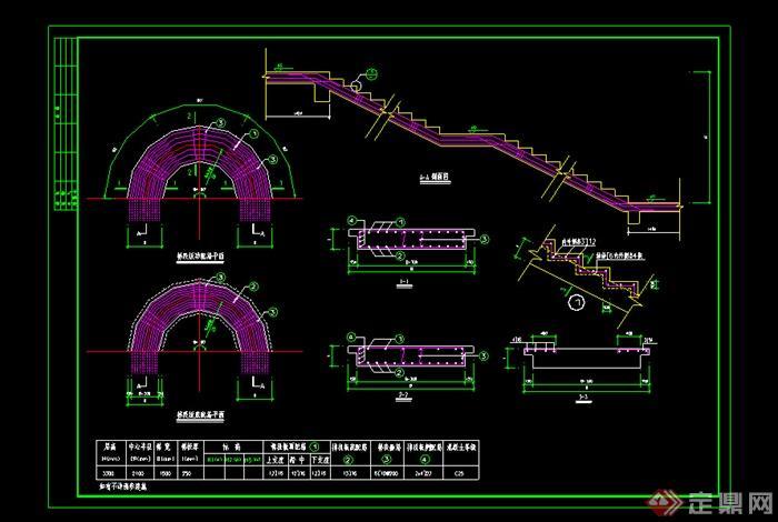 某旋转楼梯施工图设计CAD图纸