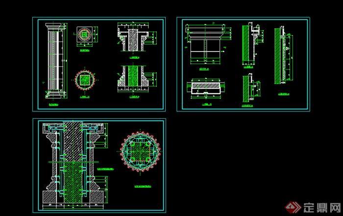 某室内装饰柱体设计CAD图纸参考图片