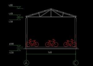 某多排自行车棚建筑设计CAD施工图