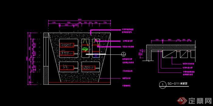 某个书柜施工图设计CAD图纸图片