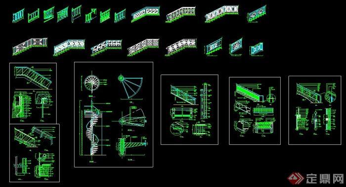 多款旋转楼梯设计CAD施工大样详图(2)