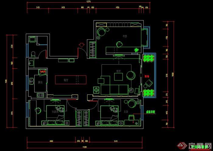 矩形120平方三室两厅设计图