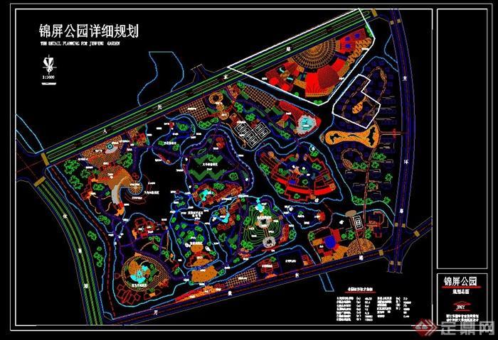 > 某公园景观设计cad总平图,景观节点和小品标注详细,具有一定的