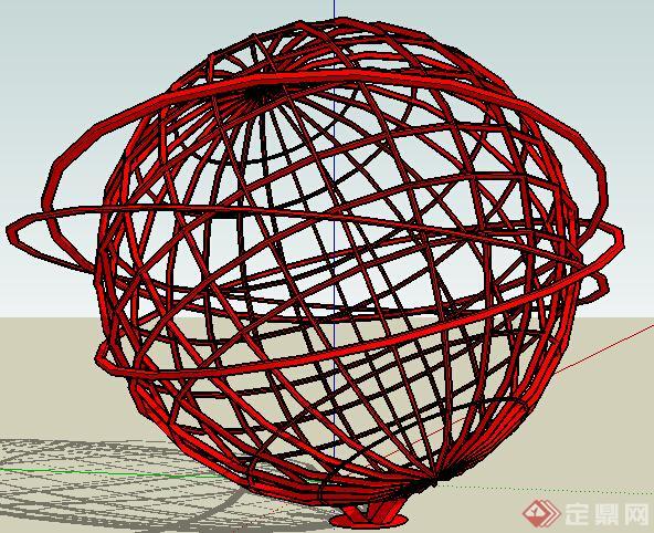 现代地球仪雕塑设计su模型