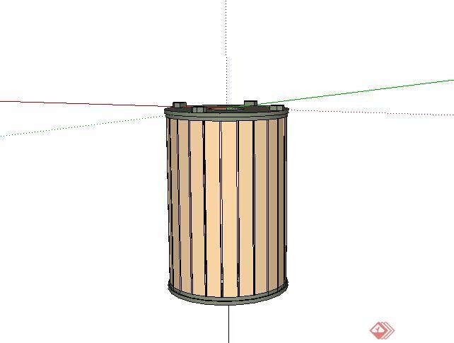 某木质垃圾桶设计su模型素材