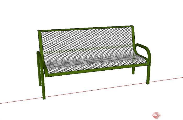某室外公园铁艺坐凳设计su模型素材