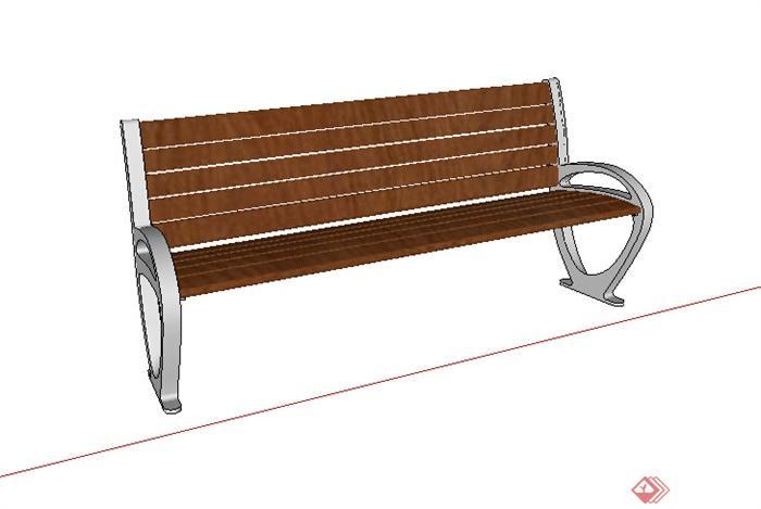 某木质简易坐凳设计su模型素材