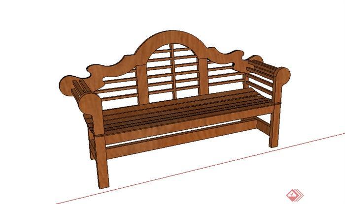 某木质沙发坐凳设计su模型素材