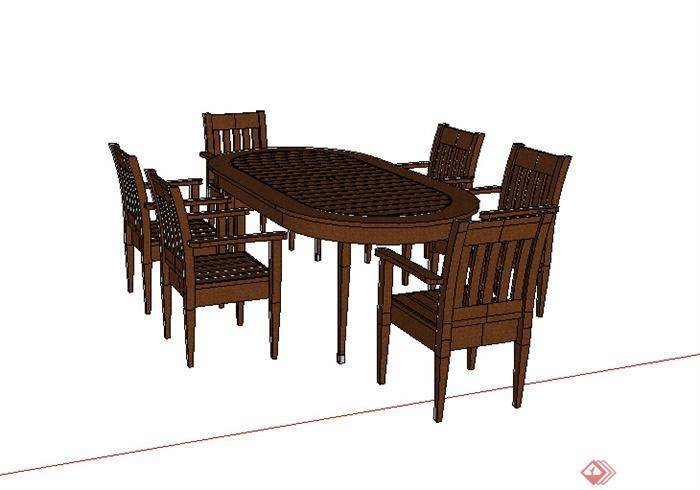某木质家具餐桌设计su模型素材