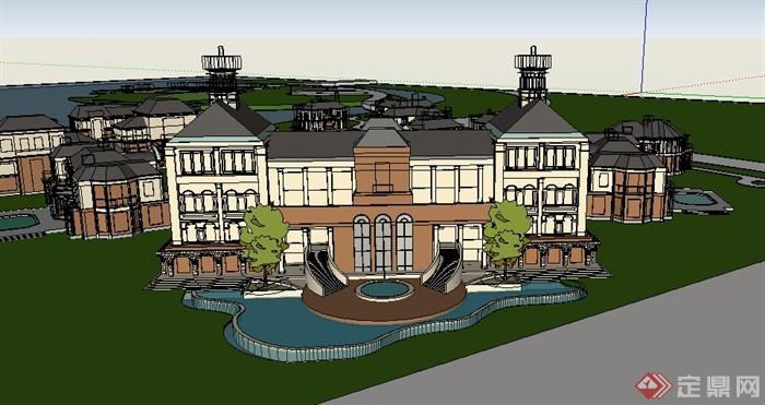某欧式旅游区度假村建筑设计su模型