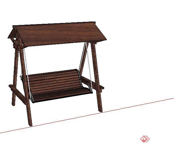 某公园木质摇椅座椅设计su模型