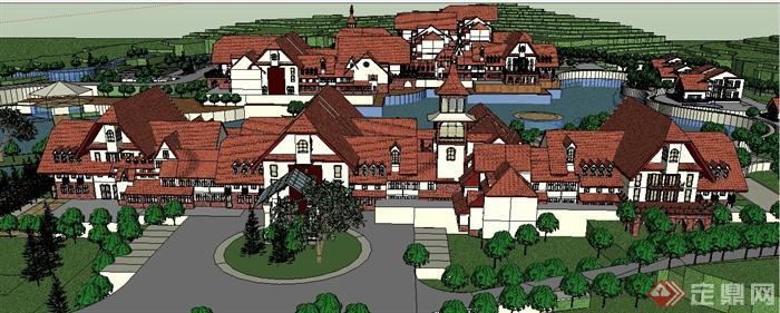 某欧式山地住宅区住宅建筑设计su模型