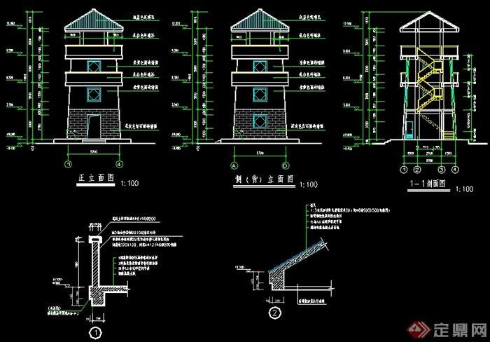 某公园瞭望塔全套设计施工图