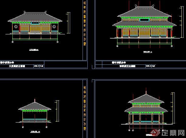 某古建寺庙建筑设计图纸(含效果图)