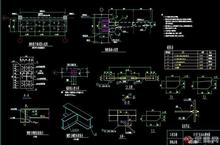 某钢结构雨棚设计cad施工图