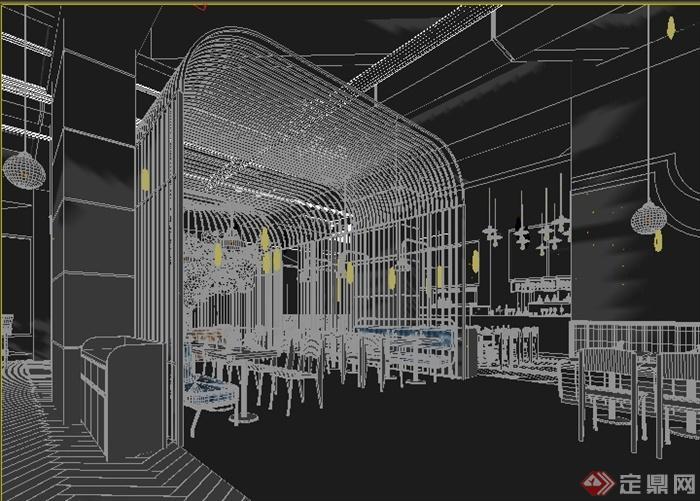 某工业风格餐厅室内装修设计3DMAX模型(1)