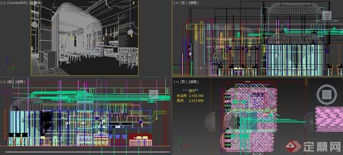 某工业风格餐厅室内装修设计3DMAX模型(2)