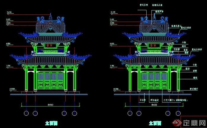 某寺院钟鼓楼建筑设计图
