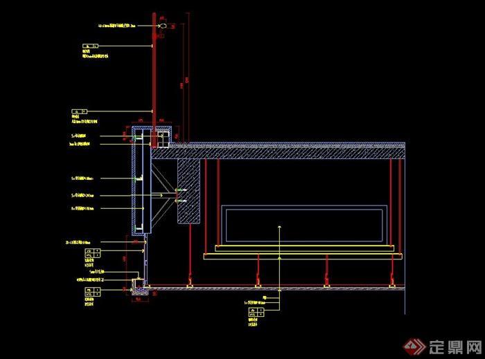 某建筑墙面槽木饰面收口设计cad施工图