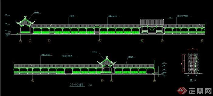某古典中式长廊建筑设计CAD施工图(2)