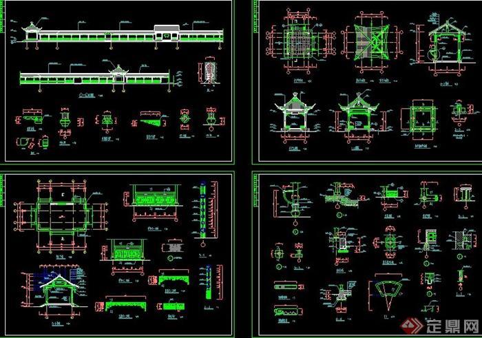 某古典中式长廊建筑设计CAD施工图(3)