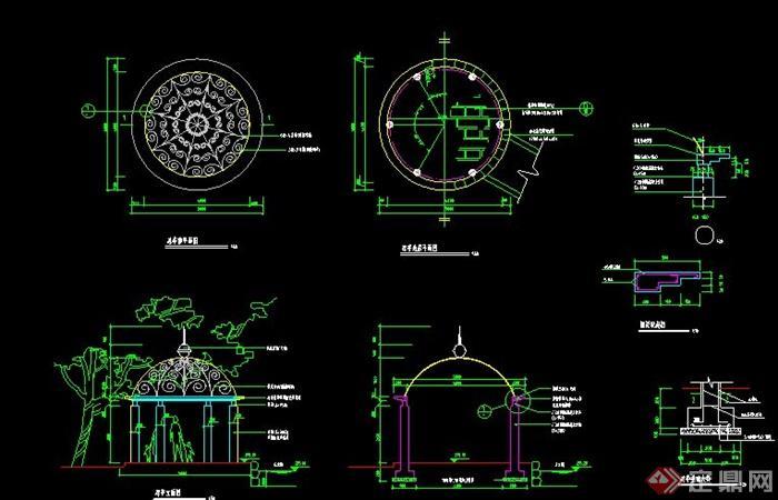 某欧式铁花凉亭设计cad施工图