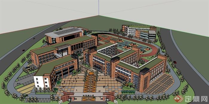 某地中學校園建筑規劃設計SU模型,該建筑設計制作細致,內容豐富,建筑是現代風格,附帶植物景觀設計,具有一定的參考價值。