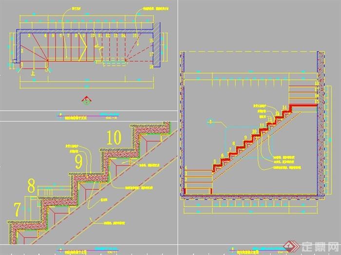 室内钢结构楼梯节点图(1)
